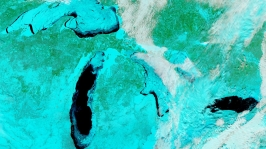 Ice on the Great Lakes in False Color Infrared (© NASA)